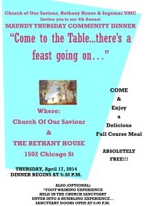 CHURCH-OF-OUR-SAVIOUR-MAUNDY-THURSDAY-COMMUNITY-DINNER-FLYER